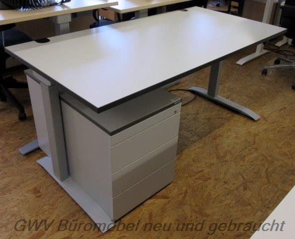 Febrü - Steh- Sitz- Schreibtisch 160 x 80 cm, grau