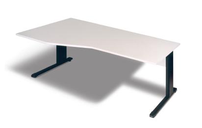 Freiform- Schreibtisch B 180 cm, L, grau