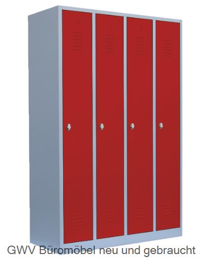 Stahl- Kleider- Schrank 4- Abteile, feuerrot