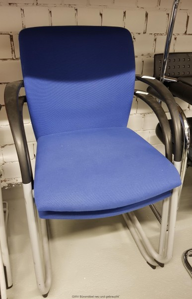 Besucherstuhl blau mit Armlehnen