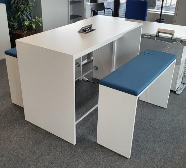 Meeting-Stehtisch-Set 160 x 80 cm, weiß