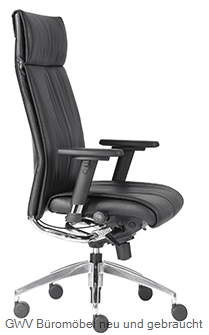 Leder-Chef-Sessel mit integr. Kopfstütze