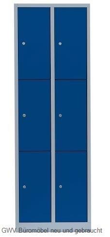 Stahl- Fächer- Schrank 6- Fächer, lichtgrau/blau