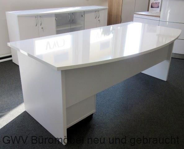 Chefbüro komplett, 3-teilig, hochglanz weiß
