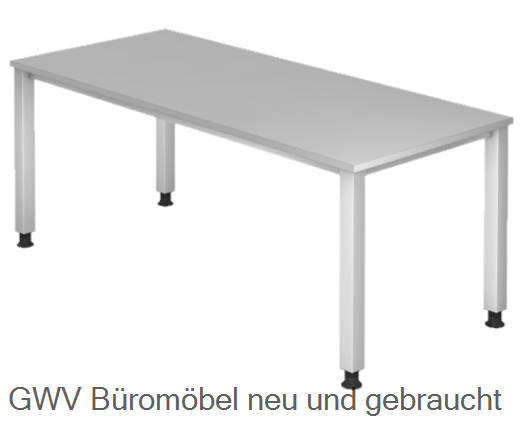 schreibtisch vierkantfu 180 x 80 cm hv120 x 80 x hv 68 76 cm tischplatte dekor. Black Bedroom Furniture Sets. Home Design Ideas