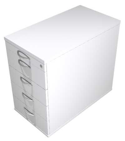 Anstellcontainer 4- Schub, T 80 cm grau