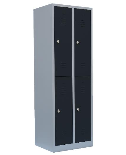Stahl- Fächer- Schrank 4- Fächer, grau/anthrazit