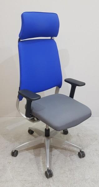 Drabert - Drehstuhl m. Kopfstütze grau/blau