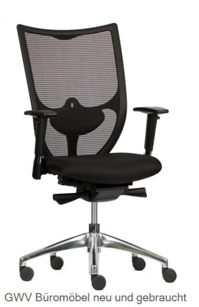 Bürodrehstuhl mit Netzrücken, schwarz