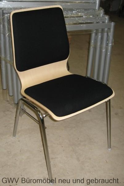 Stapelstuhl Holz mit Sitz- und Rückenpolster