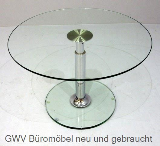 besprechungstisch glastisch rund 80 cmd 80 x h 54 cm tischplatte u fu klarglaschroms ule. Black Bedroom Furniture Sets. Home Design Ideas