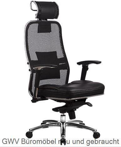 Leder-Drehstuhl mit Kopfstütze u. Sitzpolster