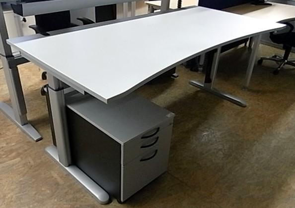 CEKA - Steh- Sitz-Schreibtisch 200 cm, sahara
