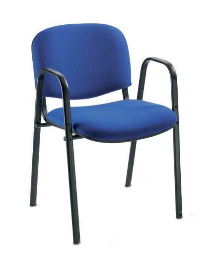 Besucherstuhl gepolstert, blau m. Al