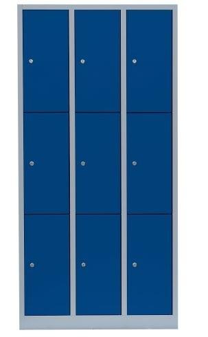 Stahl- Fächer- Schrank 9- Fächer, lichtgrau/blau
