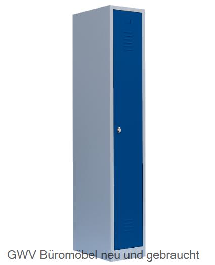 Stahl- Kleider- Schrank 1- Abteil, enzianblau