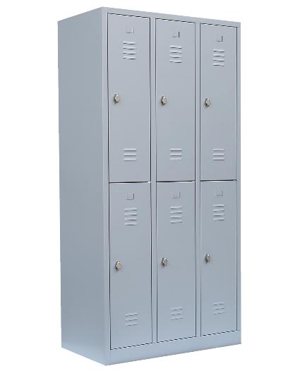 Stahl- Fächer- Schrank 6- Fächer, lichtgrau