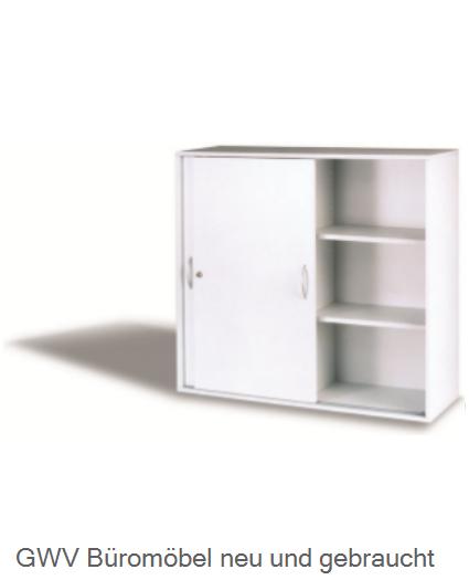 sideboard schiebetuerenschrank 3 ordnerhoch breite 120 cm in lichtgrau neuware gwv b rom bel. Black Bedroom Furniture Sets. Home Design Ideas