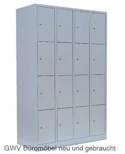 Stahl- Fächer- Schrank 16- Fächer, lichtgrau