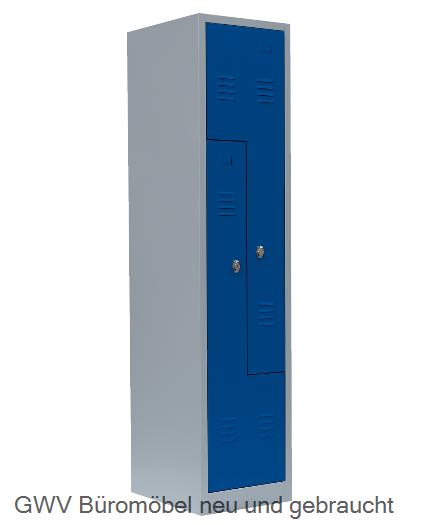 Stahl- Fächer- Schrank 2- Fächer, enzianblau
