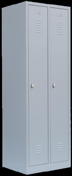 Stahl- Kleider- Schrank 2- Abteile, lichtgrau