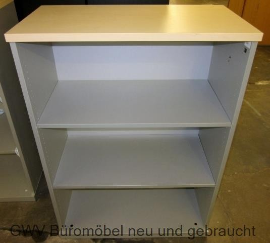 K & N - Aktenregal 3 OH, B 80 cm, alusilber/ ahorn