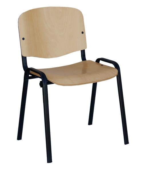 Stahlrohr- Stapelstuhl buche/ schwarz