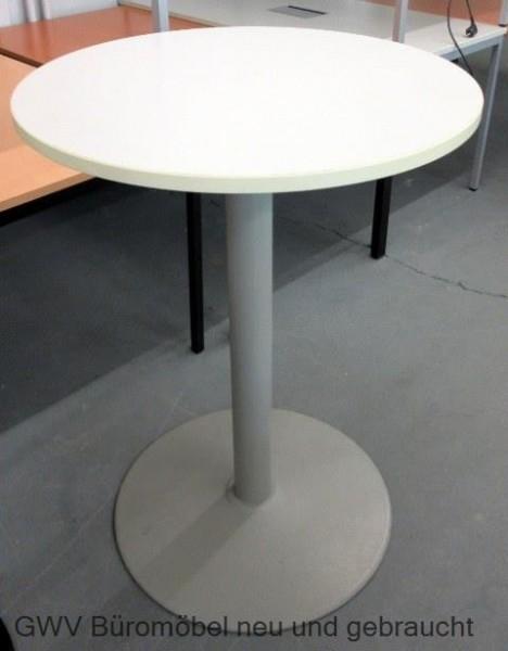 Tisch rund stehtisch bistrotisch weiß silber fußgestell tellerfuß ...