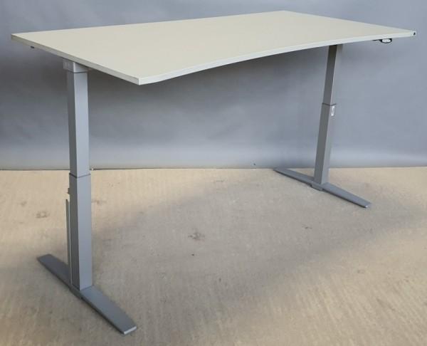 K & N - Steh-Sitz-Schreibtisch 200 cm, grau Ergo