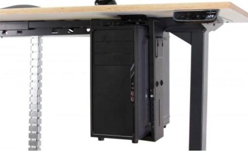 PC-Halterung für Steh-Sitz-Tisch alugrau