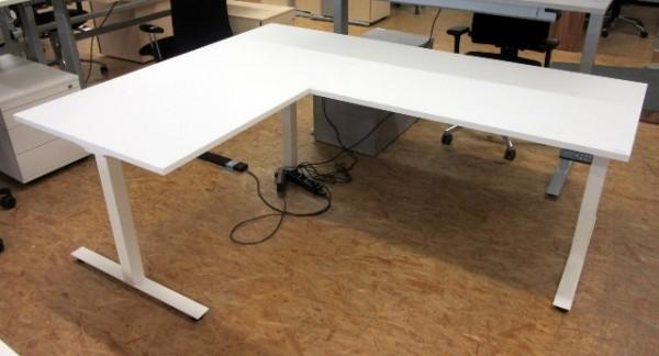 Winkel-Steh-Sitz-Tisch 200 x 160 cm weiß
