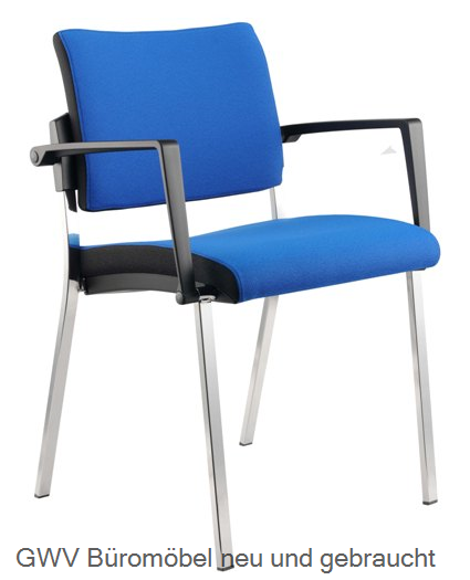 Besucherstuhl 2er Set, blau