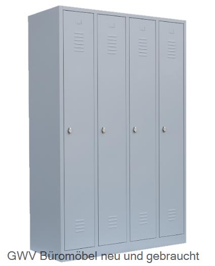 Stahl- Kleider- Schrank 4- Abteile, lichtgrau