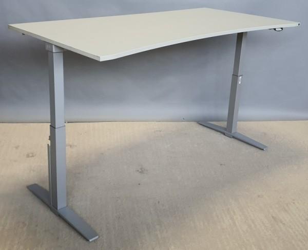 K & N - Steh- Sitz- Schreibtisch 200 cm, grau Ergo