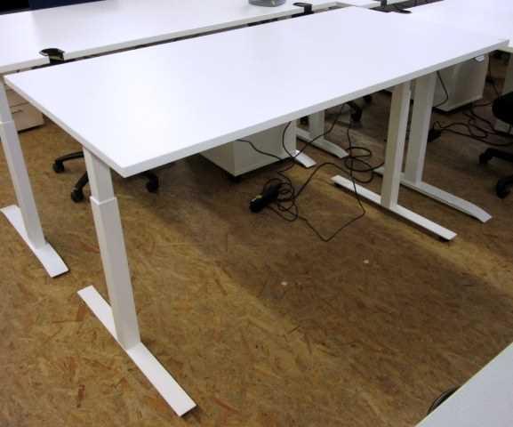 Steh-Sitz-Schreibtisch 160 cm, Gestell weiß
