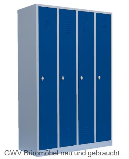 Spind Kleiderschrank Stahlschrank 4 Abteil Lichtgrau Grau Blau