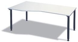 Freiform- Schreibtisch B 180 cm grau, L, HV