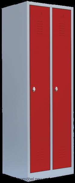 Stahl- Kleider- Schrank 2- Abteile, feuerrot