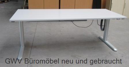 CEKA - Steh- Sitz- Schreibtisch 200 cm, grau