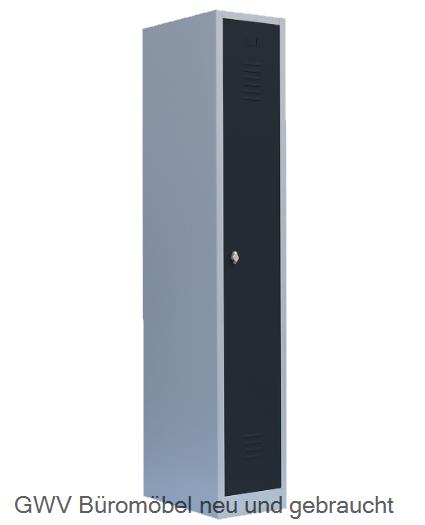 spind kleiderschrank stahlschrank 1 abteil lichtgrau grau blau enzianblau rot feuerrot anthrazit. Black Bedroom Furniture Sets. Home Design Ideas