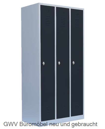 Stahl- Kleider- Schrank 3- Abteile, anthrazitgrau