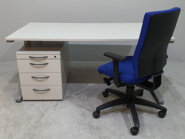 Dreiteilig. Set - Schreibtisch + Container + Stuhl