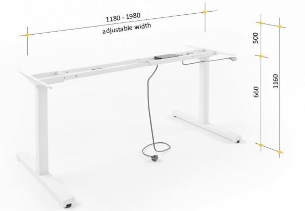 Steh-Sitz-Tischgestell 120 - 200 cm flex - weiß