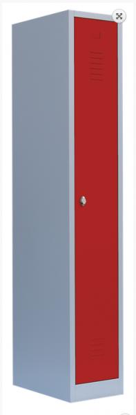 Stahl- Kleider- Schrank 3- Abteile, rot