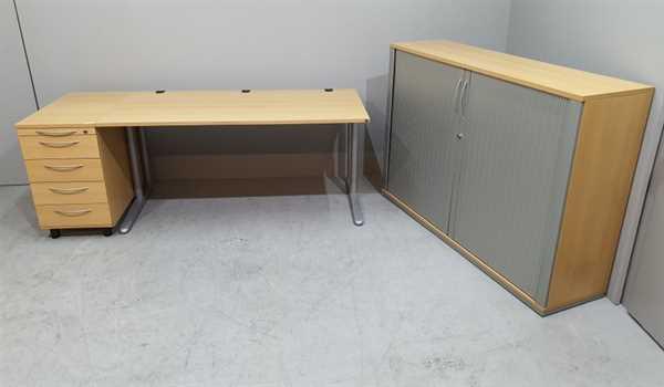 K & N - Schreibtisch + Cont. + Sideboard, buche
