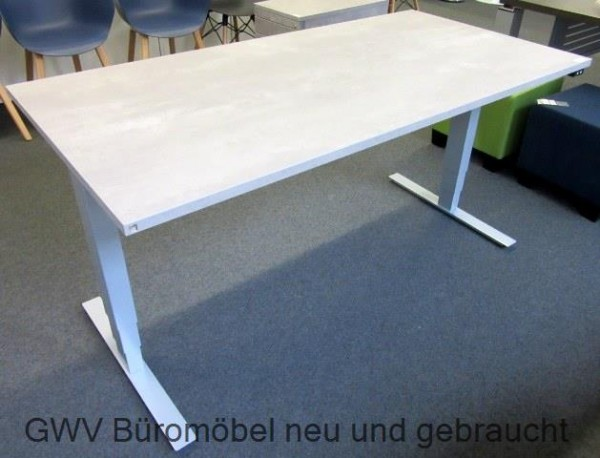 steh sitz schreibtisch 160 x 80 cm beton hellb 160 x t 80 x h 60 126 cm. Black Bedroom Furniture Sets. Home Design Ideas