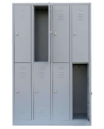 Stahl- Fächer- Schrank 8- Fächer, lichtgrau