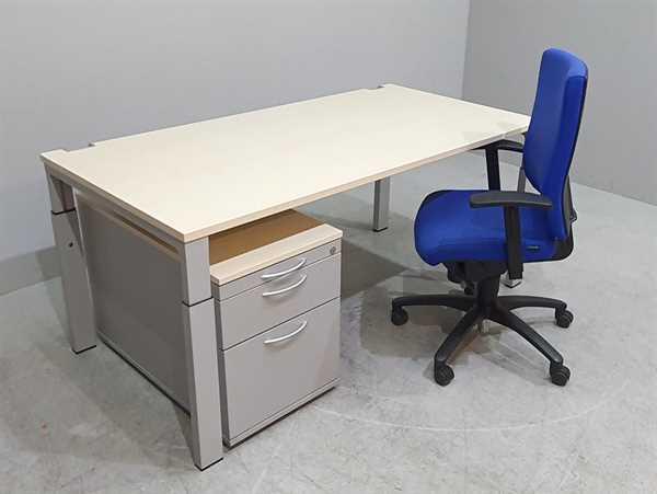 Set 3-teilig - Tisch 160 cm + Container + Stuhl
