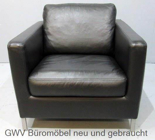 Loungemöbel - WK - Leder - Sessel schwarz