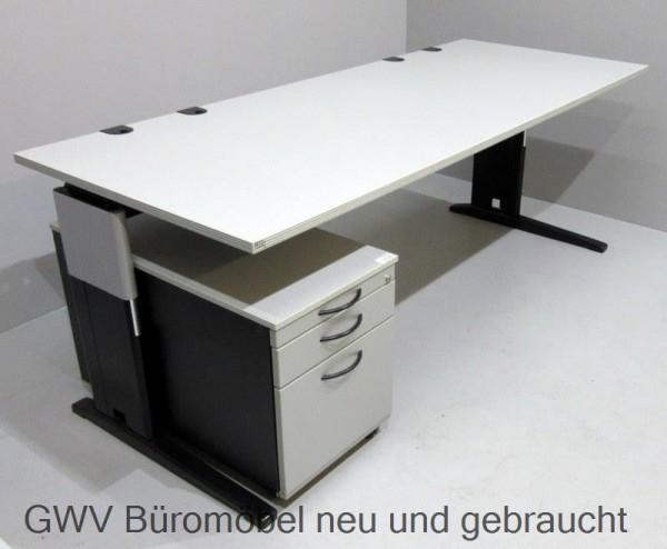 Schreibtisch 200 cm + Rollcontainer